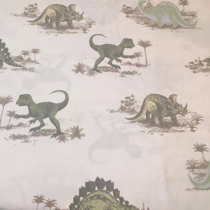 Pottery Barn Kids Full Size Flat Sheet Dinosaurs 100% Cotton Prehistoric TRex