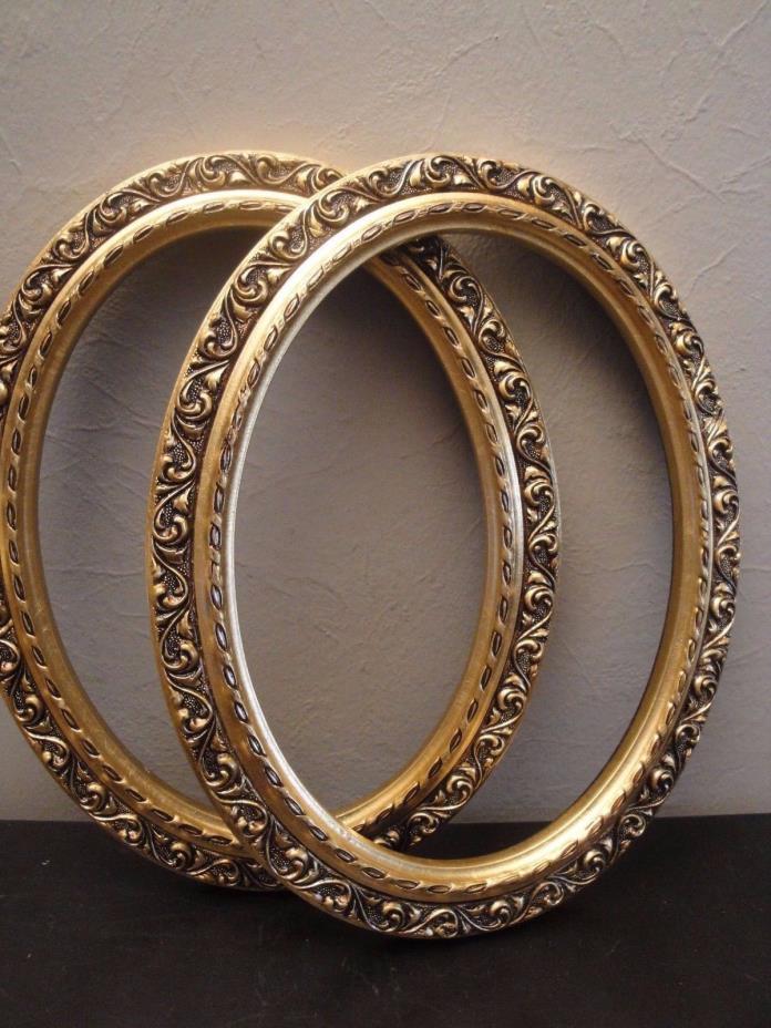 2 Vintage Oval Wood Frames Gold Gilt Ornate Insert Size 9