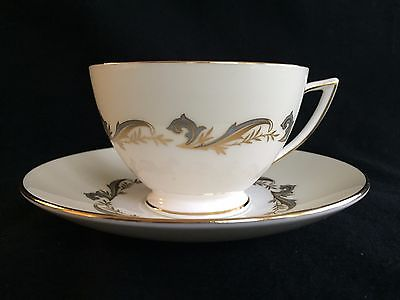 Minton Gold Laurentian H-5184 Footed Cup & Saucer Gold Trim Wreath Backstamp
