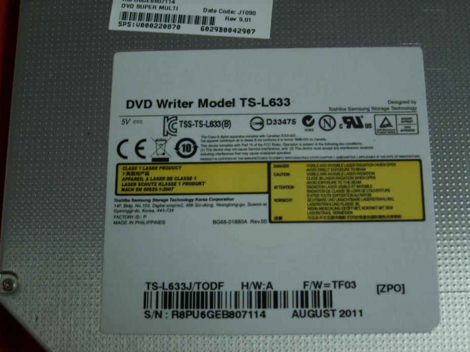 Toshiba Satellite C655D C655 Super Multi DVDRW V000220870 6029B0042907