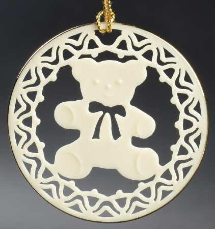 CHRISTMAS ~ LENOX ~ Porcelain Teddy Bear (Flat) Ornament ~ c1985