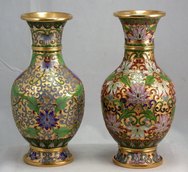 Chinese Gilt Gold Brass Cloisonne Champleve Enamel Vase 2 Pair 8