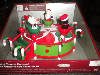 SPINNING TEACUP CAROUSEL SANTA & FRIENDS PLAYS 10 SONGS NEW