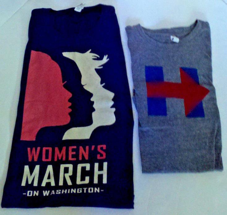 LOT 2 T-shirts Womens March On Washington ( BLACK) & HILLERY BLUE/GRAY both XL