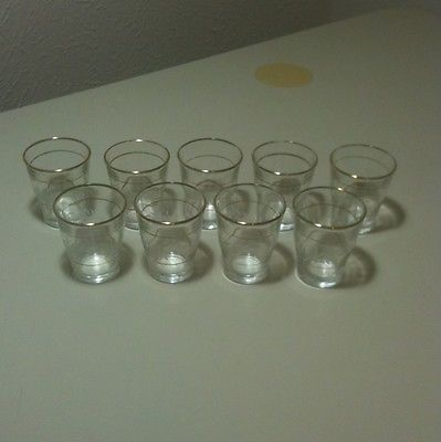 Vintage Etched Gold Trim Shot Glasses Made In Italy Set Of 9