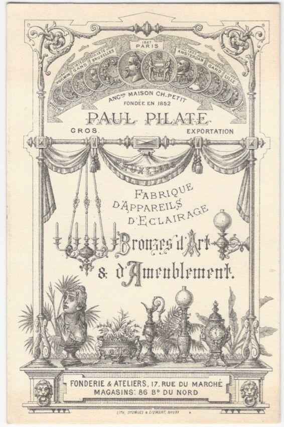 1880s Paris Lighting & Art Bronze & Decorations Manufacturer Trade Card