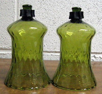 TWO (2)  HOME INTERIORS VOTIVE GLASS SCONCE CANDLE HOLDERS LIGHT GREEN