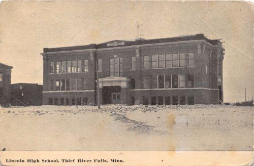 THREE RIVER FALLS MINNESOTA LINCOLN HIGH SCHOOL POSTCARD 1913