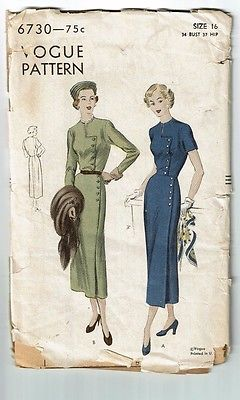 Vogue # 6730 Vintage  Beautiful Dress with sleeve variation Pattern Sz 16 used