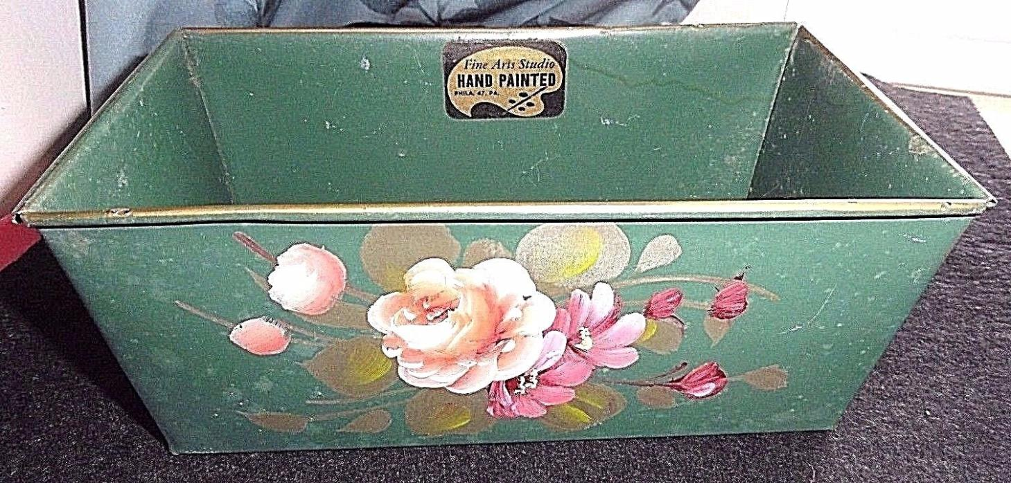 Vintage Rare~Fine Arts Studio~Tole Forest Green Metal Oblong Planter/Pan~Chic!