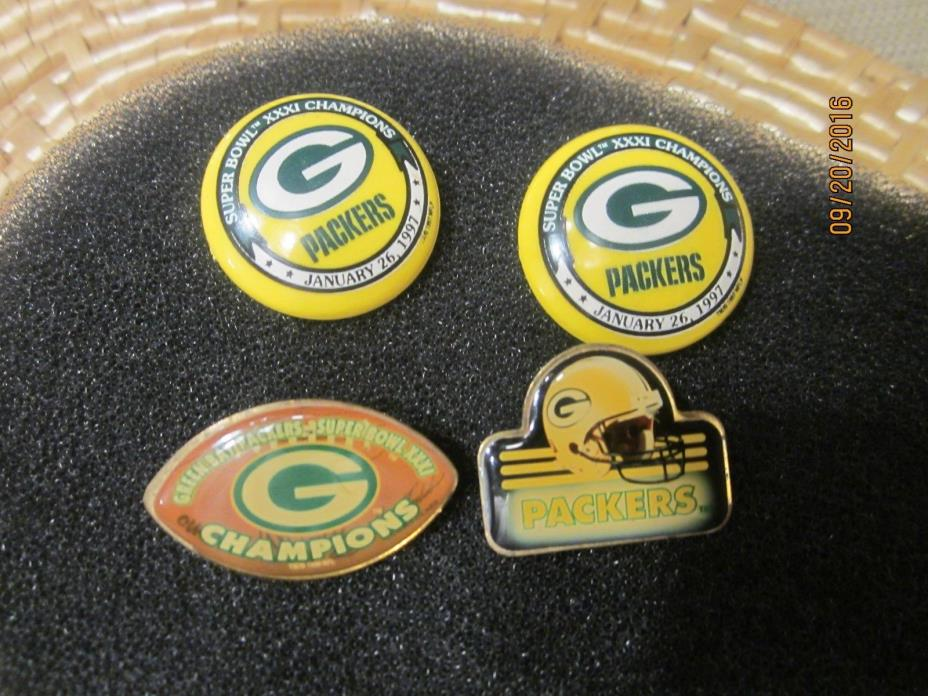 4 Vintage Green Bay Packers  Lapel Pins,  3 Are Super Bowl XXXl Pins