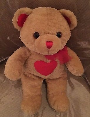 Plush Teddy Bear with Red Heart. Excellent Condition.