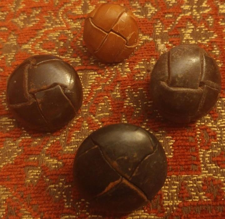 3 ANTIQUE 3 CM DARK BROWN LEATHER BUTTONS WITH LEATHER SHANKS bonus