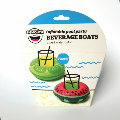 ?NEW?LIME & WATERMELON Inflatable  Beverage Boats Pool Party 2-Pack Bigmouth Inc