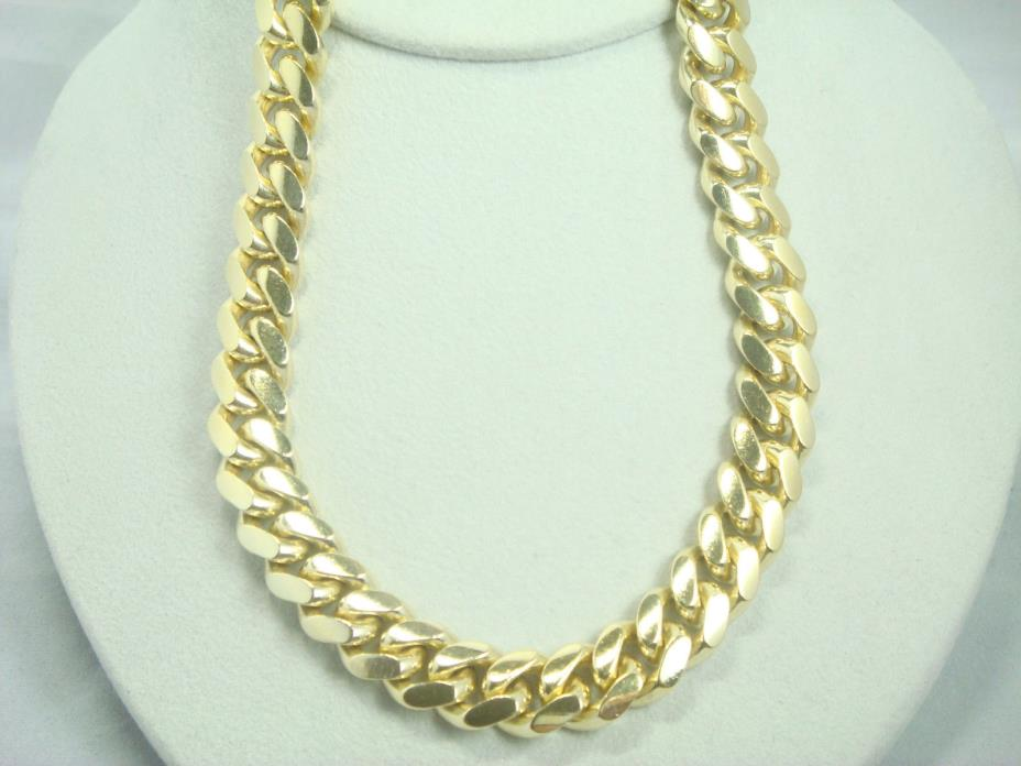 Miami silver 925 cuban link chain with yellow plated