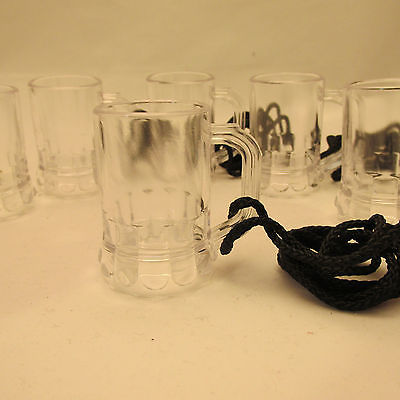 Plastic Mini Beer Mug Shot Glass with Black Rope, 1 oz.- Set of Six
