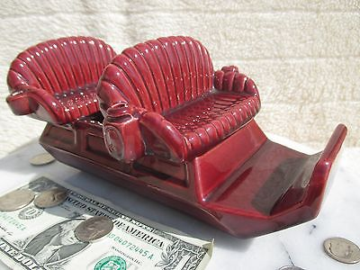 Metlox Manufacturing Co. Ceramic Sleigh Planter in Burgundy - missing metal pcs.