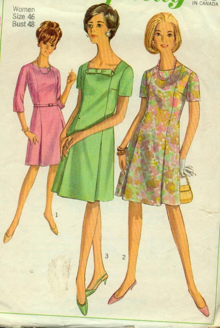 sz 46/26-W(BUST 48) PRINCESS DRESS NECK&SLEEVE VARIATIONS VINTAGE PATTERN'67