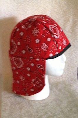 cap liner red bandana,reversible all cotton, welding caps x