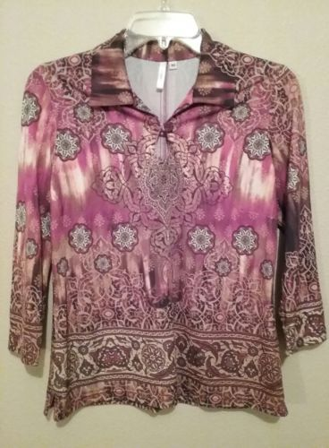 LE HELENE FUNKY PAISLEY TOP. BROWN/RED/ORANGE. RETRO. WOMENS MEDIUM