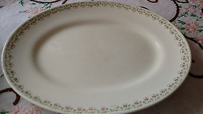 Vintage China Tiny Pink Rosebud Pattern Oval Platter Plate, Handpainted