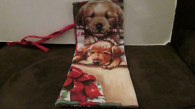 Christmas Puppies Wine Sock /Stocking NWOT
