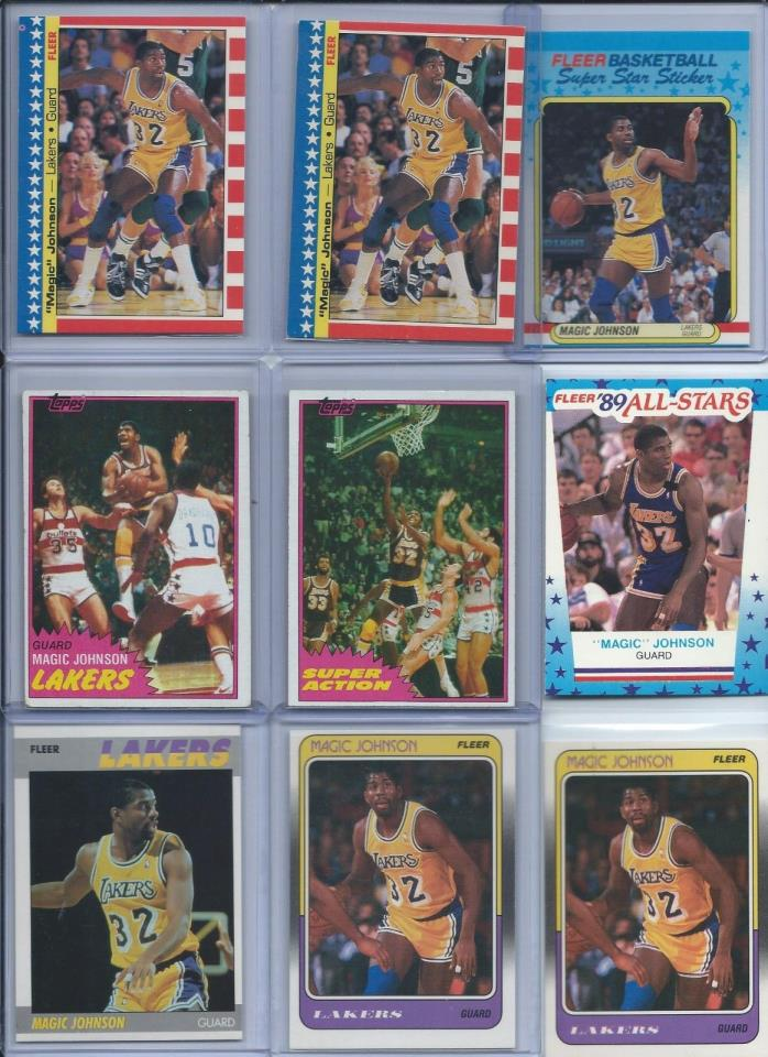 Magic Johnson Lakers Lot of (20) Different w/ 1980-81 1987-88 1988-89 HOF BV$98