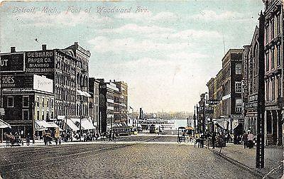 Detroit Michigan~Foot of Woodward Avenue~Ship on Lake~Gebhard Paper Co~1908 Pc