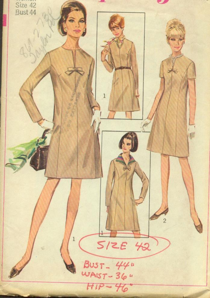 sz 42/22-W(BUST 44)A-LINE PRINCESS DRESS DETACHABLE COLLAR VINTAGE PATTERN'67