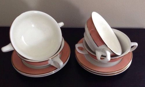Homer Laughlin Restaurant Ware Burgundy/Red 4 Soup 2 Handled Cups 4 Saucers