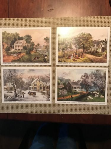 Currier and Ives American Homestead Spring, Summer, Autumn & Winter Litho Prints