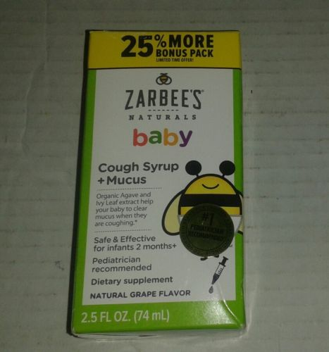 ZARBEES Naturals Baby COUGH SYRUP + MUCUS 2.5 fl oz Natural Grape Flavor 10/2018