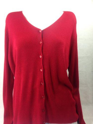 Sag Harbor Women Cardigan Red V neck SizeL Bin27#11