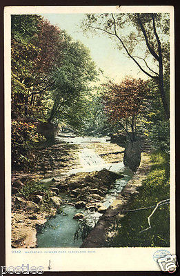 1901 CLEVELAND Ohio WADE Park WATERFALL Woods Vintage OH POSTCARD Path & Stairs