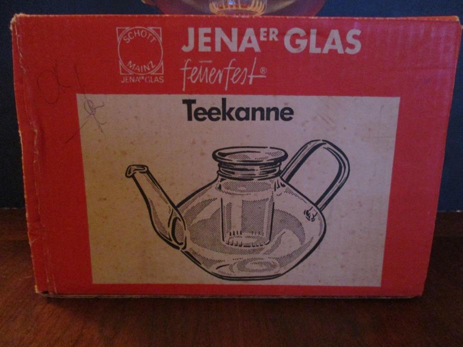 NIB SET Bauhaus 1960s Scott Mainz Jena Glass Teapot/2 TEACUPS/INFUSER/BOX