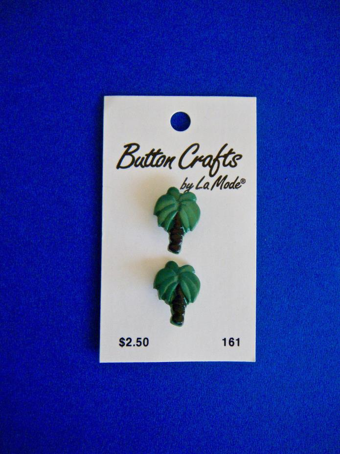 2 Palm Tree Vintage Plastic Buttons From Button Crafts by La Mode 1990's New