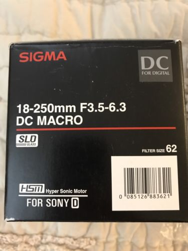 Sigma DC 18-250mm f/3.5-6.3 HSM AF ASP DC Lens Minolta/Sony