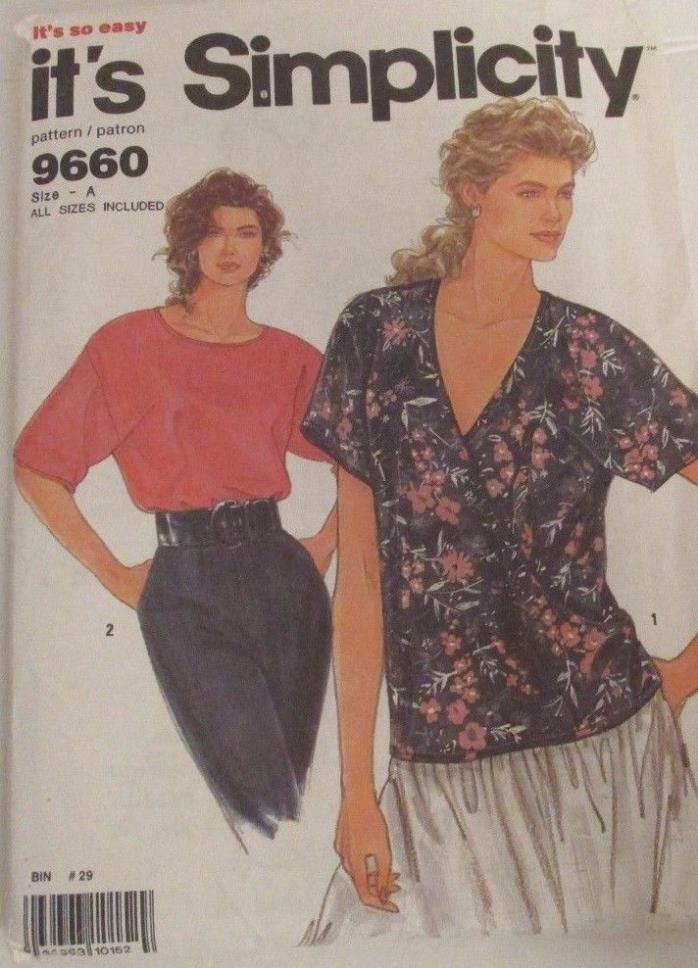 1990's Vintage It's Simplicity Patterns # 9660 Misses' Pullover Top Size A
