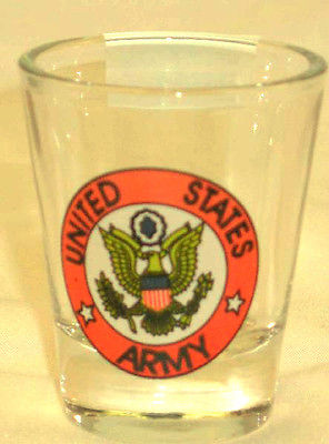 UNITED STATES US ARMY MILITARY LOGO SHOT GLASS NEW