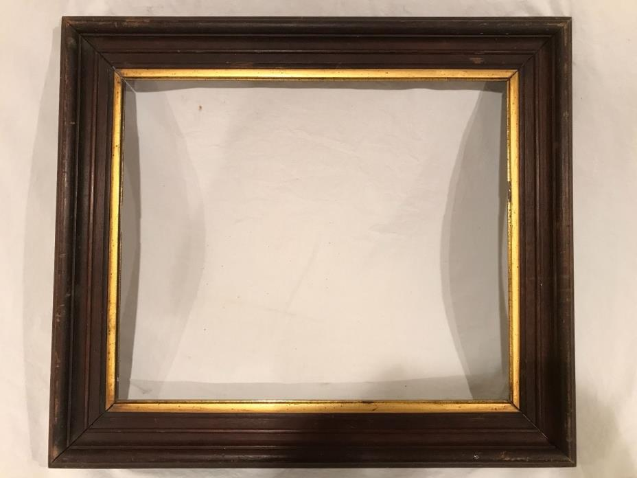 Antique 20x17 Wood Picture Frame with Gold Leaf Liner c 1920s