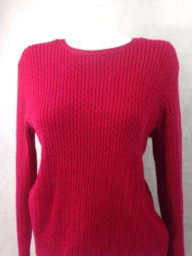Croft and Barrow Women's Sweater Red Knit Long Sleeve Scoop Neck XL Bin 27 #14