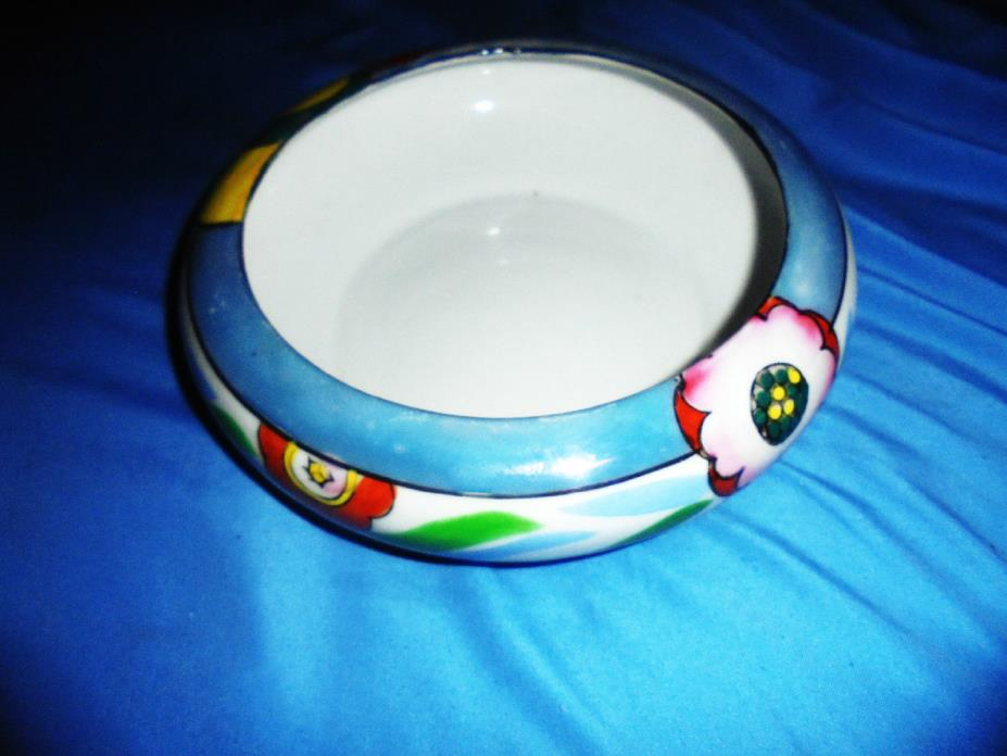 ART DECO POTTERY BOWL Arts & Crafts ~ ANTIQUE Beautiful Colors Hand Painted WOW!