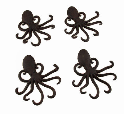 Rustic Brown Cast Iron Octopus Shaped Wall Hook Set of 4