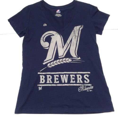 MLB Milwaukee Brewers Women's Large Short Slv Vneck Navy Blue Majestic Tee Shirt