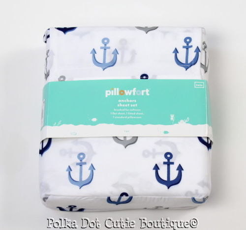 NEW Pillowfort White Blue Gray Anchors Nautical TWIN Sheet Set Kids Bedding