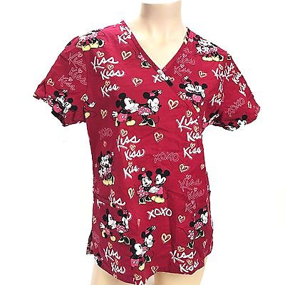 Hospital Nurse Scrub Women Disney Character Kiss Xoxo Mickey Minnie Mouse Red M