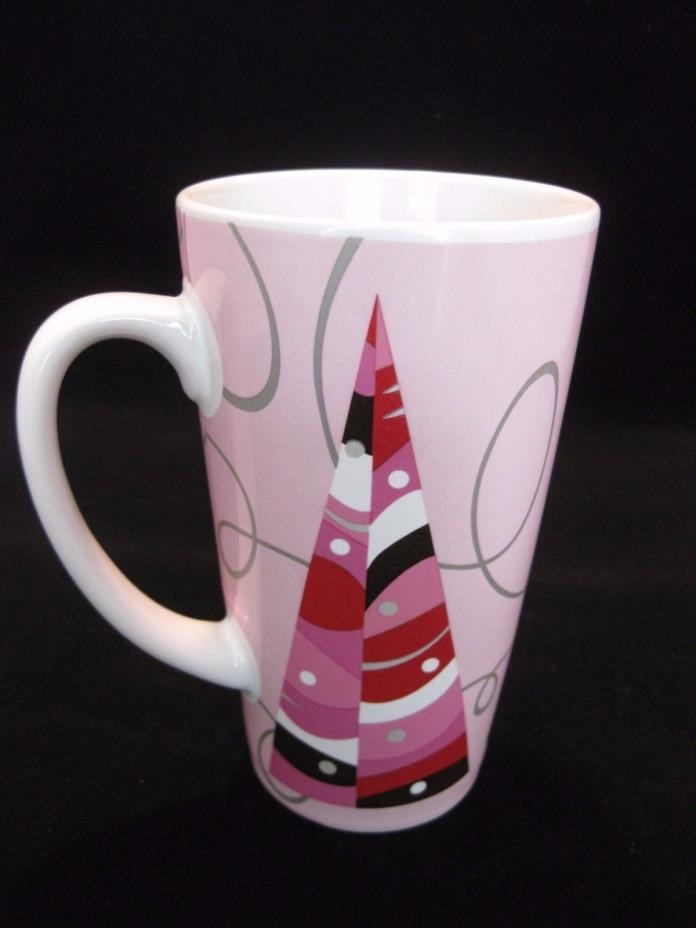 Starbucks 2004 Tall Pink Silver Holiday Grande 16 oz Mug Christmas Tree