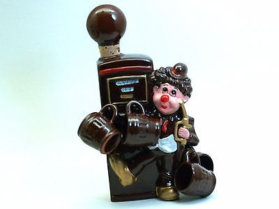1950's Japan Decanter Bottle w/ Cork Hand Painted Clown Hobo Gas Pump by ROSS