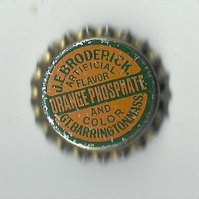 J.E. Broderick Orange Phosphate Soda Cork Bottle Cap Mass.