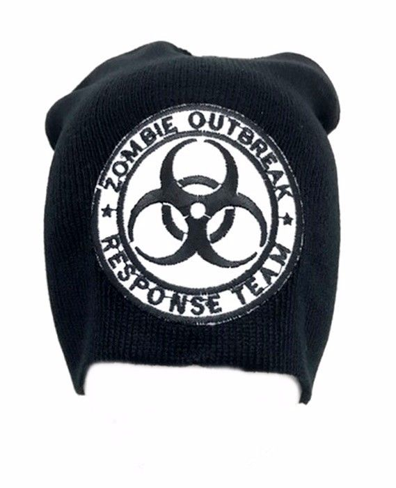 White Zombie Outbreak Biohazard Symbol Beanie Black Punk Goth Embroidered Patch